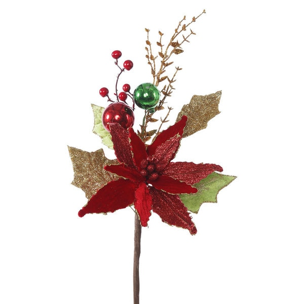 Vickerman 17-inch Red Velvet Poinsettia Spray (Pack of 3)