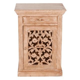 Magnolia Rustic Reclaimed Wood and Metal Nightstand (India)