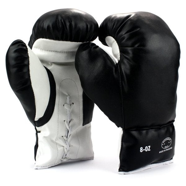 Velocity Toys Kids 8-ounce Black Youth Lace-up Training Boxing Gloves