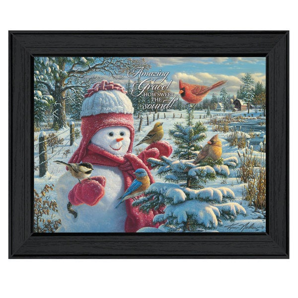 Snowman, Amazing Grace Framed Print