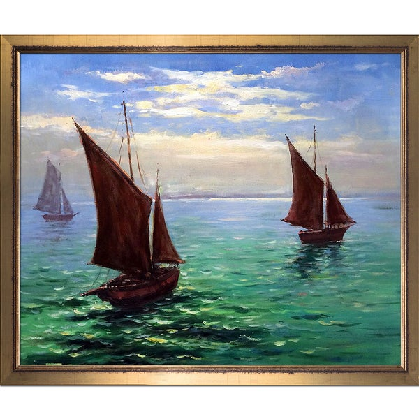 Claude Monet 'Boats Leaving the Harbor' Hand Painted Framed Canvas Art