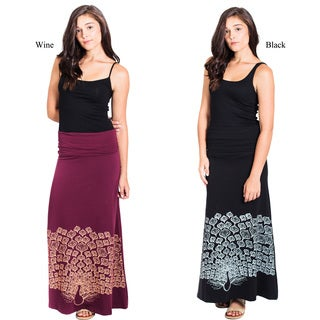 Women's Organic Cotton Peacock Printed Gypsy Maxi Foldover Skirt (Nepal)