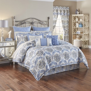 Waverly Blue and White Over the Moon 4-piece Cotton Comforter Set
