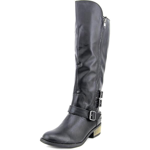 Arizona Jean Company Women's Caleb Black Faux Leather Wide Calf Boots
