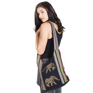 Decorated Elephant Boho Cotton Shoulder Bag - Black (Nepal)