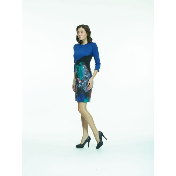 Amelia Blue/Black Color Block Three-quarter Sleeve Ponte Dress