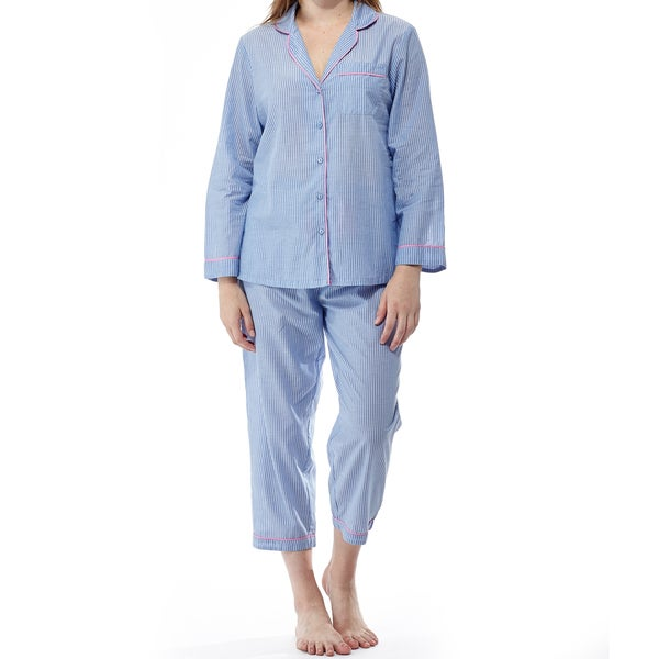 La Cera Women's Blue Cotton Long-sleeved Striped Pajama Set
