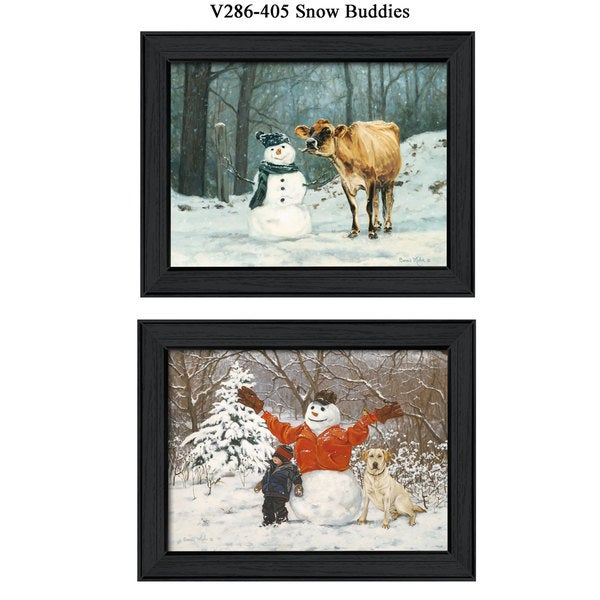 'Snow Buddies' Cow, Dog, Snowman Framed Print 19900050