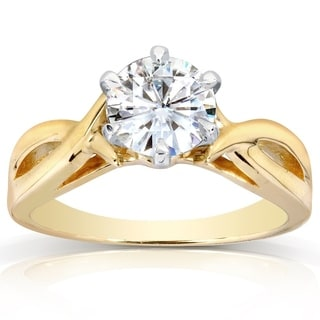 Annello 14k Yellow Gold 1ct Round Forever Brilliant Moissanite Solitaire Engagement Ring