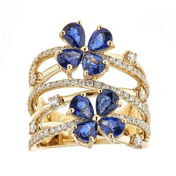 Anika and August 18k Yellow Gold Ceylon Blue Sapphire and Diamond Ring
