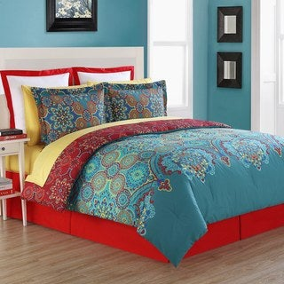 Terra 4-piece Red and Blue Cotton Comforter Set with Bedskirt