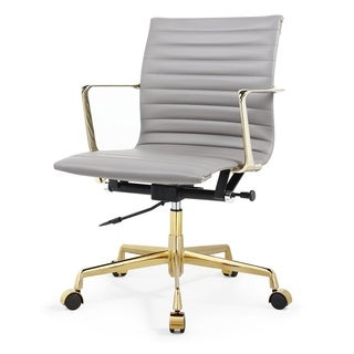M5 Office Chair In Gold And Grey Aniline Leather