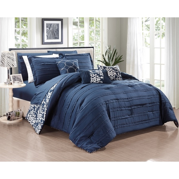 Chic Home Zarina BIB Navy 10-Piece Comforter Set, Navy