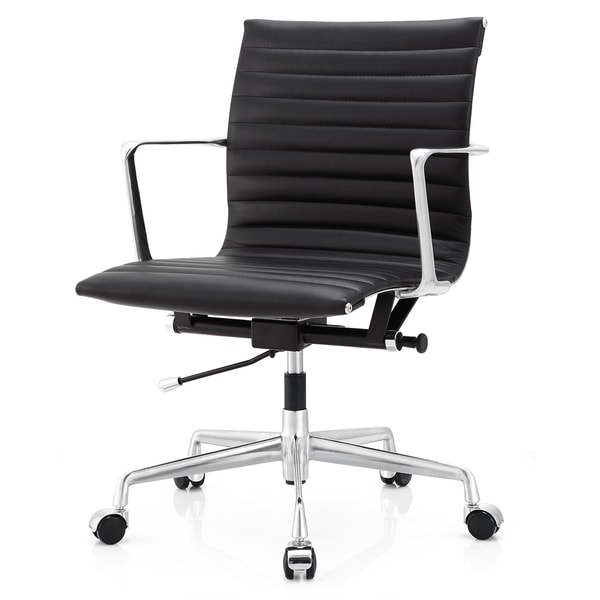 Black Aniline Leather Ergonomic Office Chair