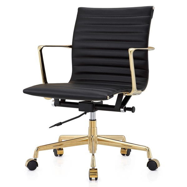 M5 Office Chair in Gold and Black Aniline Leather