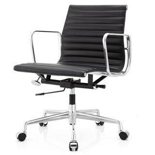 M400 Black Aniline Leather Office Chair