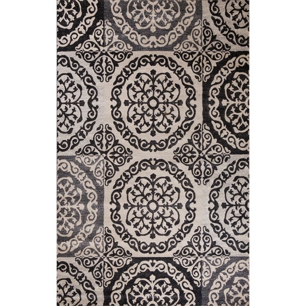 Impression Collection Colette Ivory Polypropylene Rug (6'7 x9'6 )