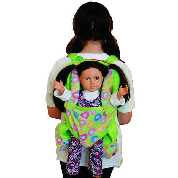 The Queen's Treasures Green Child's Doll Carrier Backpack With Doll Sleeping Bag