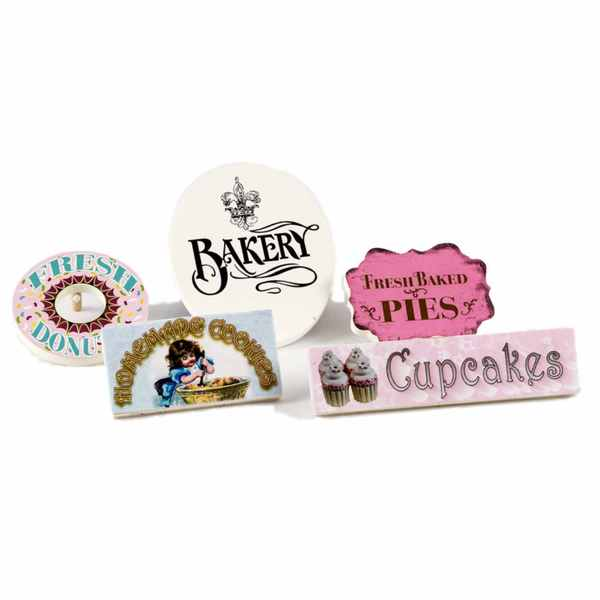 The Queen's Treasures American Bakery Shop Signs for 18-inch Doll Bake Shop Scene (Pack of 5)