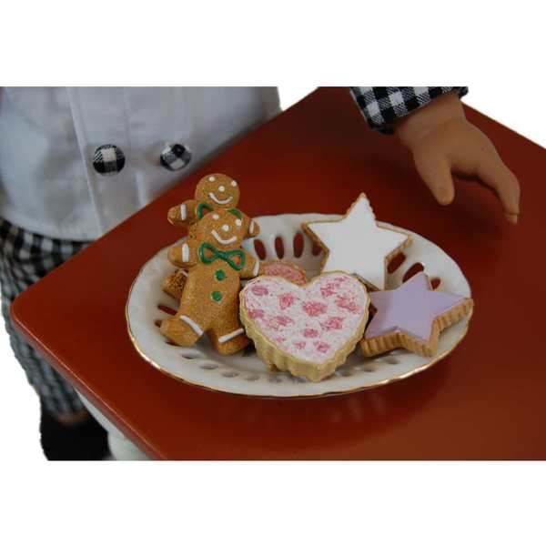 The Queen's Treasures 6-Piece American Bakery Pink Rose Cookie Plate and Cookie Set for 18-inch Girl Dolls