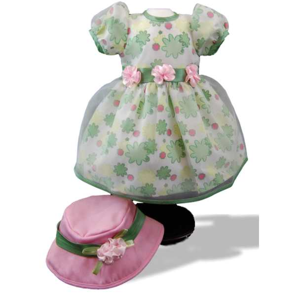 The Queen's Treasures Pretty Floral Dress & Hat Clothing & Acessories Outfit for 18-inch Girl Dolls