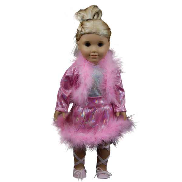 The Queen's Treasures Pink Sparkle Complete Ice Skating Dance Outfit for 18-inch Dolls