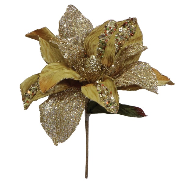 31-inch Gold Glitter Magnolia with 13-inch Flower