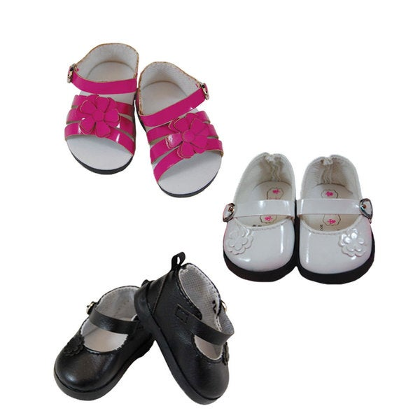 The Queen's Treasures White Mary Jane, Black Mary Jane, and Pink Strappy Sandal Shoe, Fits 18-inch Dolls
