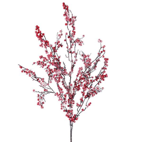 23-inch Snowy Red Berry Spray