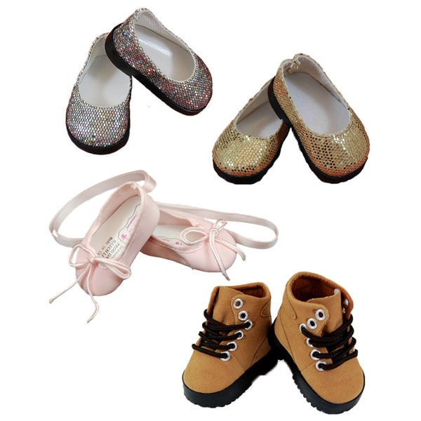 The Queen's Treasures Gold and Silver Slip-on/Pink Ballet Slipper/ Brown Hiking Boots 18-inch Doll Shoe Accessory Set