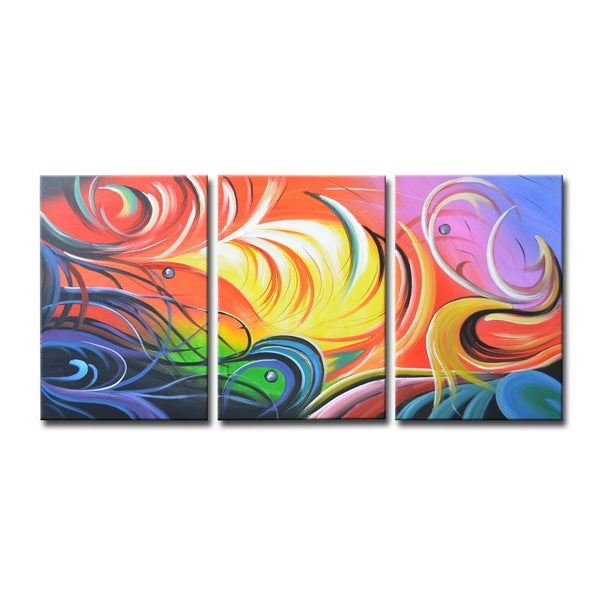 'Toya' Stretched Canvas 3-panel Wall Art