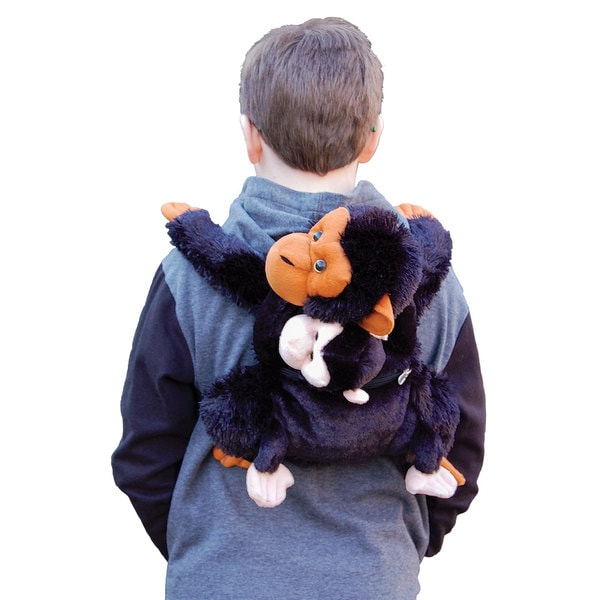 The Queen's Treasures Youth Black Faux-fur Mother & Baby Chimpanzee Backpack