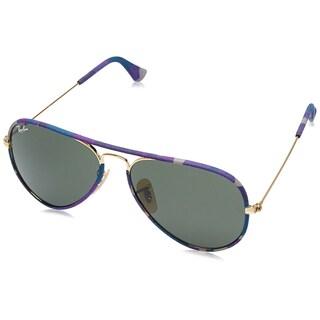 Ray Ban Men's Aviator Camouflage RB3025JM-172 Sunglasses, Gold/Green, 55MM