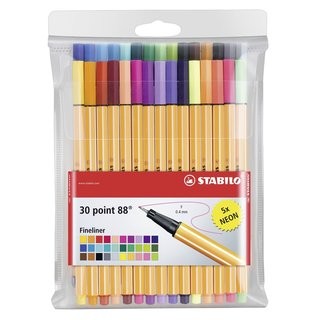 Stabilo 8830-1 Point 88 30-color Fineliner Pens Wallet Set