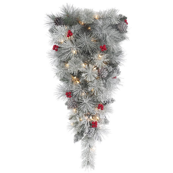 Vickerman 30-inch Frosted Mix Berry Pine Teardrop Swag with 35 Clear Lights 19901849