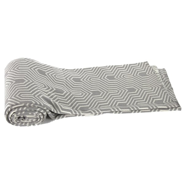 Grey Geometric Cotton Cashmere Throw