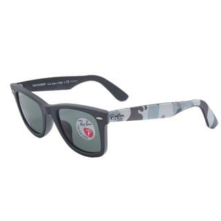 Ray-Ban Wayfarer RB2140F Sunglasses 115658, Black Camo/Green Lens, 52MM