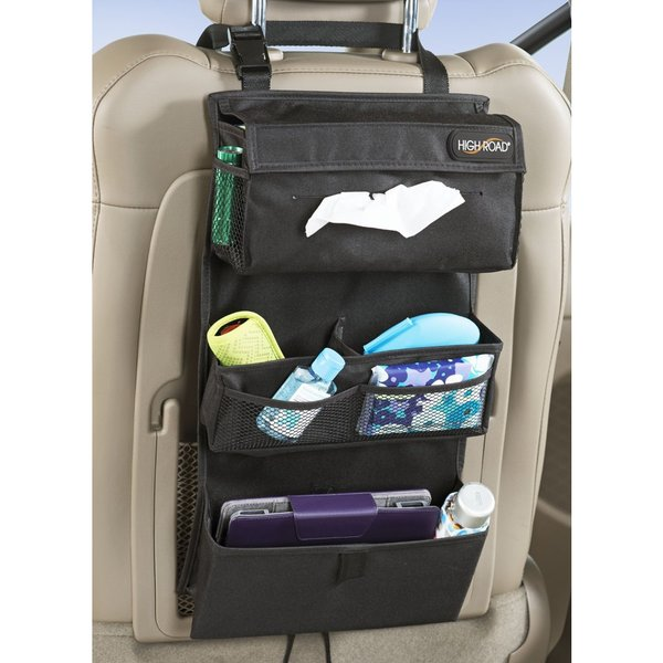 High Road Black Polyester Car Seat Back Entertainment Organizer