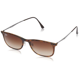 Ray-Ban RB4225 New Wayfarer Light Ray Sunglasses, Matte Havana/Shiny Gunmetal, Gradient Brown, 52MM