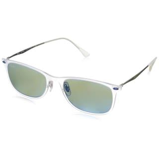 Ray-Ban RB4225 New Wayfarer Light Ray Sunglasses, Matte Transparent Green, Mirror Green/Shiny Silver, 52MM