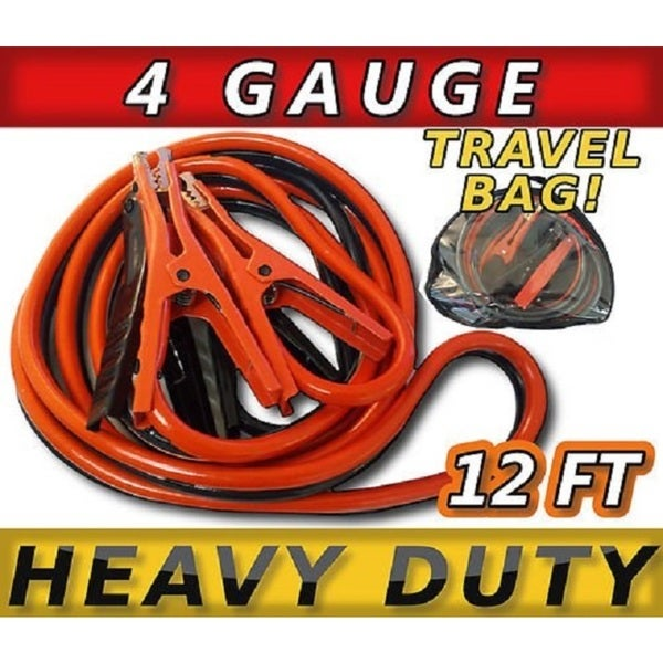 Heavy Duty 400 amp 4 gauge 12-feet Battery Booster Cables with Travel Case