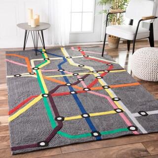 nuLOOM Handmade Kids' Subway Map Wool Rug (3'6 x 5'6)