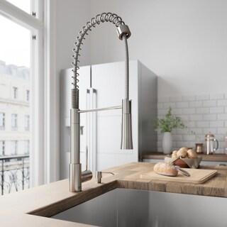 VIGO Laurelton Stainless Steel Pull-Down Spray Kitchen Faucet with Soap Dispenser