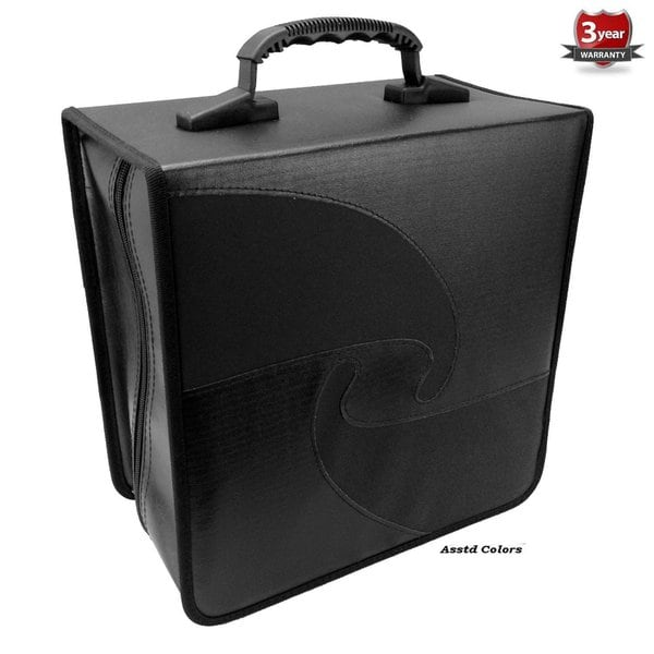 Black High-quality Leather/PU Vinyl/Nylon Jumbo Capacity 520 Compact Disc CD/DVD/Blu-Ray Media Wallet Folder With Assorted Trim 19902195