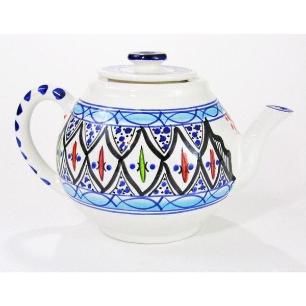 Le Souk Ceramique Tibarine Stoneware Teapot (Tunisia)
