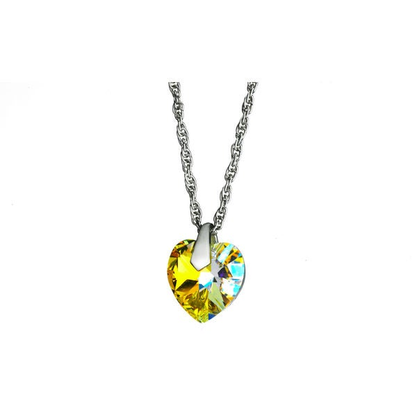 Yellow Crystal Heart Necklace