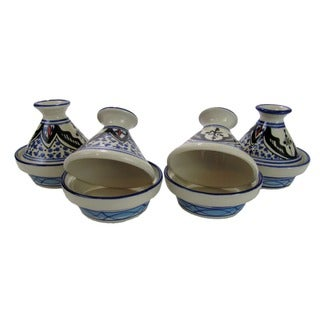 Set of 4 Le Souk Ceramique Tibarine Mini Stoneware Tagines (Tunisia)