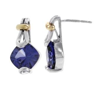 H Star Sterling Silver and 10k Rose Gold Created Blue Garnet Earrings