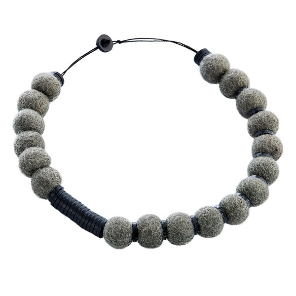 Wool Felt Grey/ Black Pompom Necklace (Nepal)