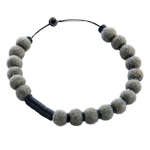 Wool Felt Grey/ Black Pompom Necklace (Nepal)